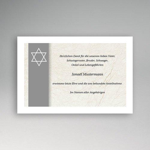 Trauer Danksagung israelitisch - David grau 5255