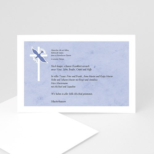 Trauer Danksagung christlich - Taube vor dem Kreuz 5283
