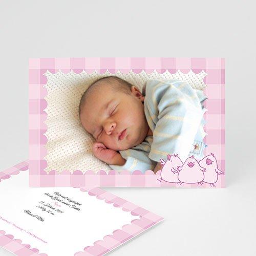 Geburtskarten für Mädchen - Karo in Rosa 5339