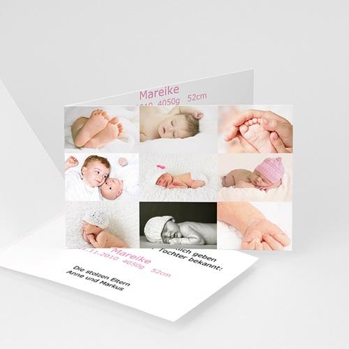 Geburtskarten für Mädchen - Geburtskarte Kleine Fotoserie 5347