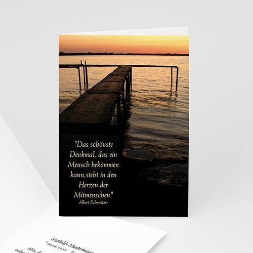 Trauer Danksagung weltlich - Trauerkarte See 5371