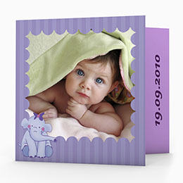 Geburtskarten für Mädchen - Elefant  in violett - 1