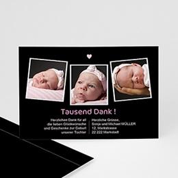 Dankeskarten Geburt Mädchen - Babykarte schlicht - 1