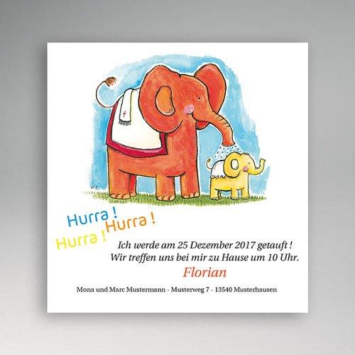 Einladungskarten Taufe Mädchen - Taufkarte Elefantendusche 5447
