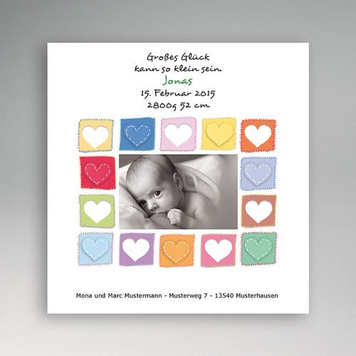 Geburtskarten für Mädchen - Die Herzkarte 5463
