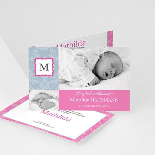 Geburtskarten für Mädchen - Rosa Perle 567
