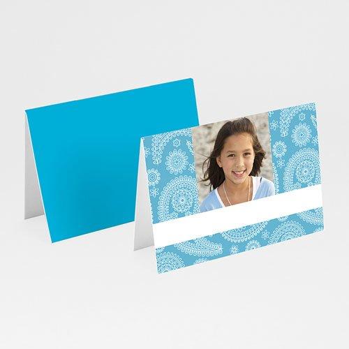 Tischkarten Kommunion - Tischkarte Ornament in Blau 5759