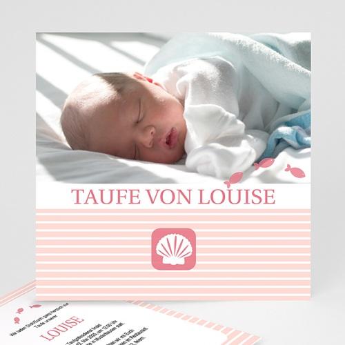 Einladungskarten Taufe Mädchen - Kleine Muschel - rosa 579