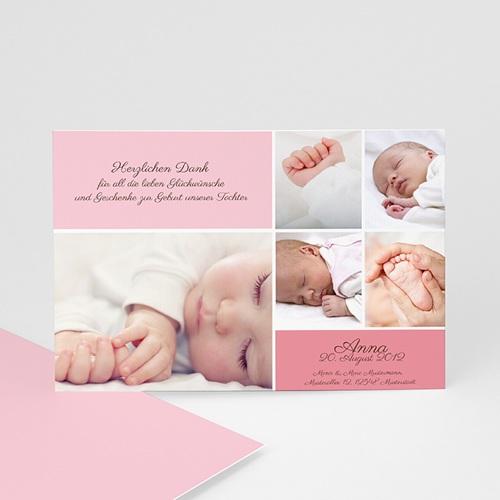 Dankeskarten Geburt Mädchen - Dankeskarte rosa 627