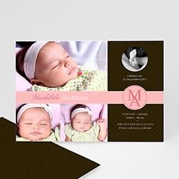 Geburtskarten für Mädchen - Design - rosa - 1