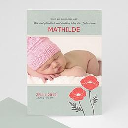 Geburtskarten für Mädchen - Babykarte Mohnblume - 1
