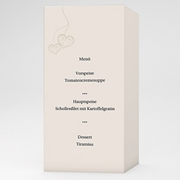 Menükarten Hochzeit  - Hochzeitskarte Herz pur - 1