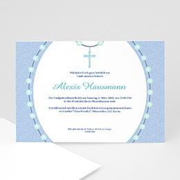 Einladungskarten Taufe Jungen  - Taufe Kreuz - 1