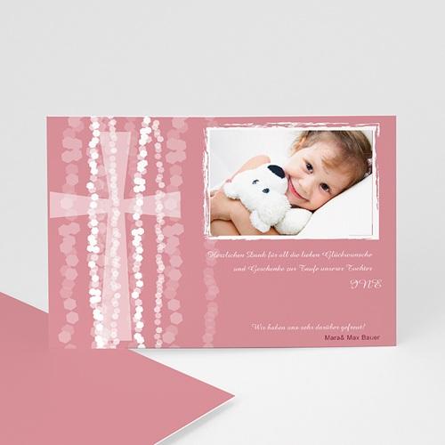 Dankeskarten Taufe Mädchen - Danksagung Taufe pink 7109