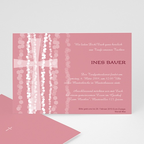 Einladungskarten Taufe Mädchen - Modernes Kreuz  7113