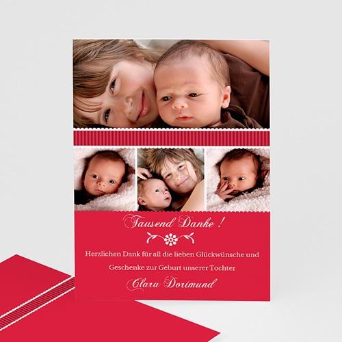Dankeskarten Geburt Mädchen - Rubinrot 7117