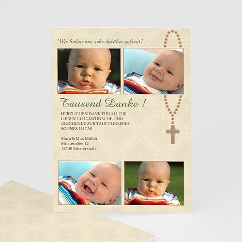 Dankeskarten Taufe Jungen - Danksagung Baby Kreuz 7231