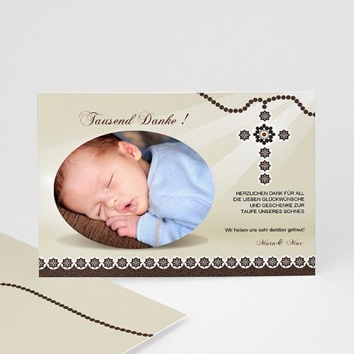 Dankeskarten Taufe Jungen - Danksagung Taufe hell 7255