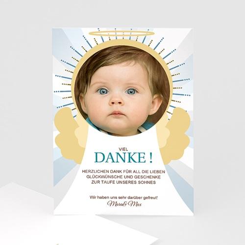 Dankeskarten Taufe Jungen - Danksagung Engel 7263