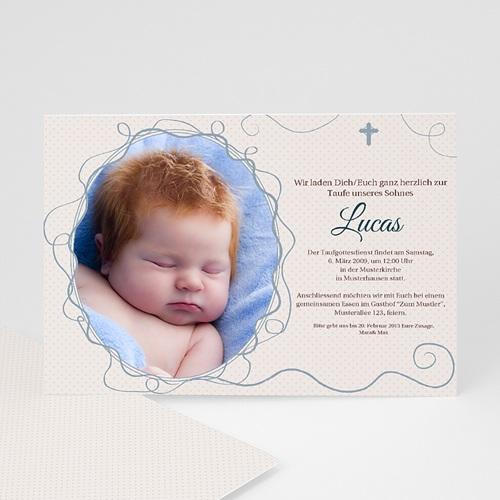 Einladungskarten Taufe Jungen  - Verspielt  - Kreuz  7287