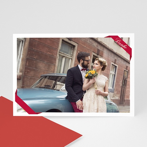 Fotokarten selbst gestalten - Fotokarte rotes Band 7657