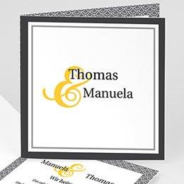Hochzeitseinladungen modern - Hochzeitskarte grau und gelb - 1
