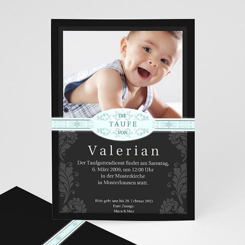 Einladungskarten Taufe Jungen  - Klassisch - schwarz 8220
