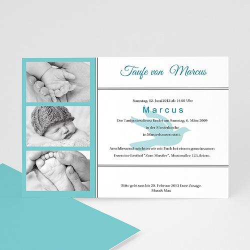 Einladungskarten Taufe Jungen  - Täubchen 8270