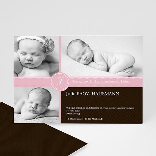 Geburtskarten für Mädchen - Geburtskarte pink S/W 8278
