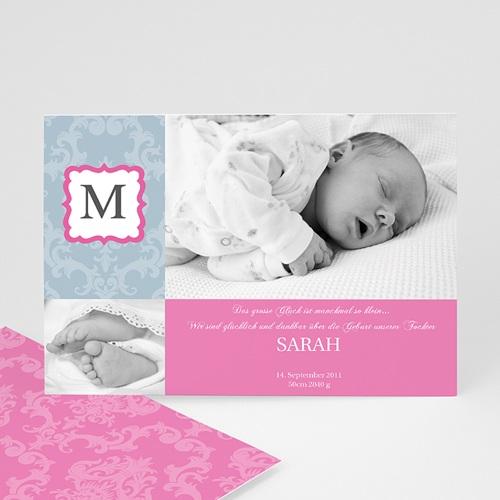Geburtskarten für Mädchen - Monogram Mädchen 8282