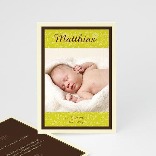 Babykarten für Jungen - Geburtskarte anis & braun 1 8428