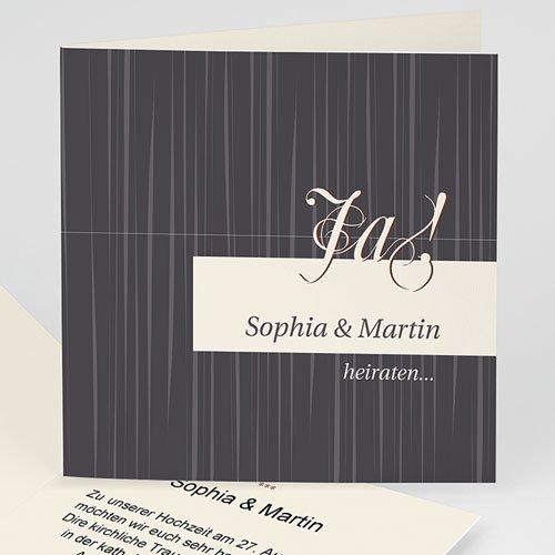 Hochzeitseinladungen modern - Hochzeitskarte Beige & Schwarz 8436