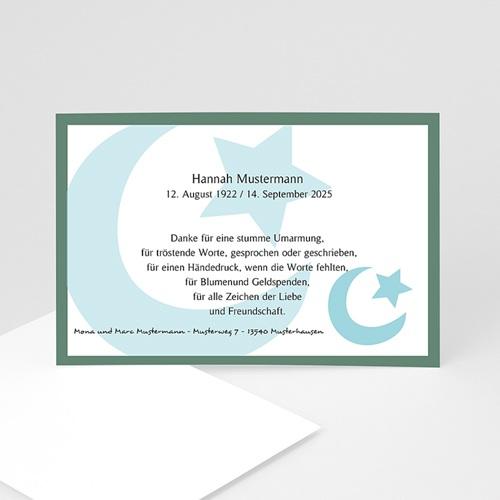 Trauer Danksagung muslimisch - Blaue Mondsichel 8464
