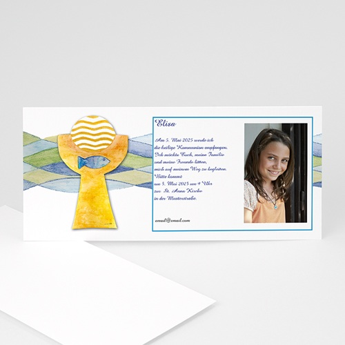 Einladungskarten Kommunion Mädchen - Kelch und Fisch 8480