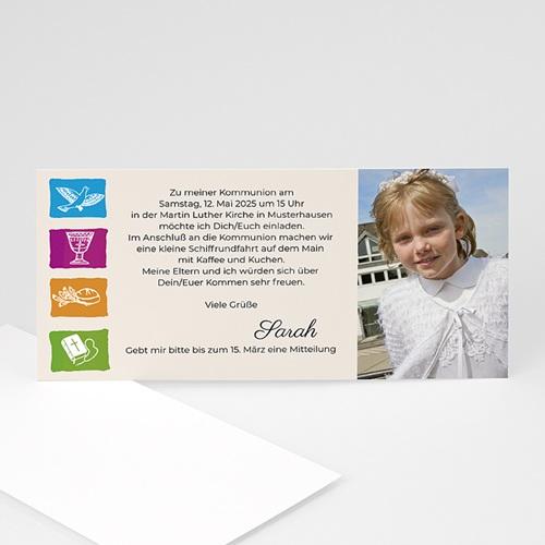Einladungskarten Kommunion Mädchen - Hostie 8484