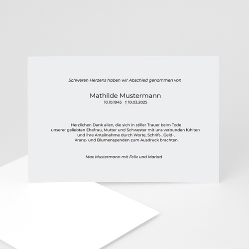Trauer Danksagung weltlich - Trauerkarte 8494