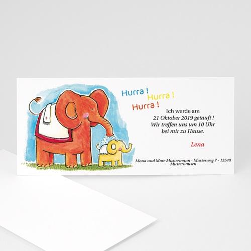 Einladungskarten Taufe Mädchen - Elefantendusche 8550