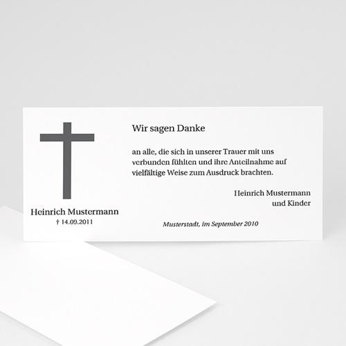 Trauer Danksagung christlich - Schlichtes Kreuz 8570