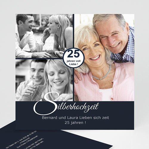 Silberhochzeit und goldene Hochzeit  - Stilvolle Einladungskarte 8792