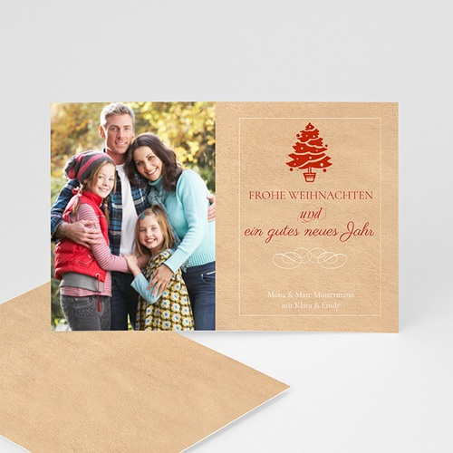 Weihnachtskarten - Weihnachtsbaum rot  9326