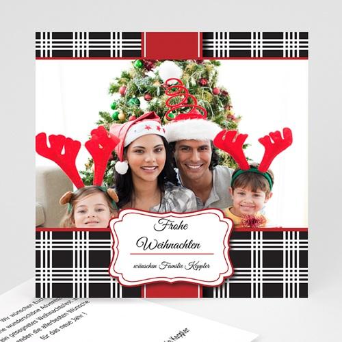 Weihnachtskarten - Weihnachtskarte Karomuster 9412