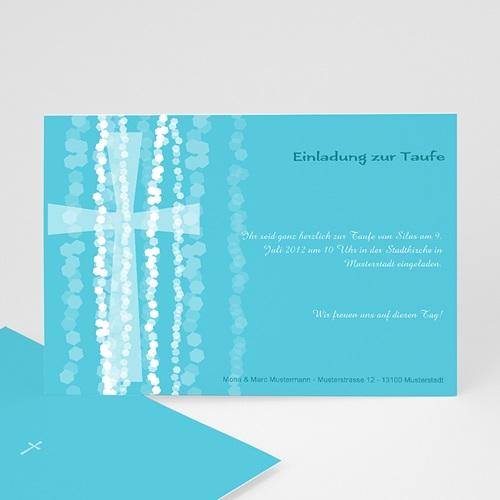 Einladungskarten Taufe Jungen  - Taufkarte Kreuz 9485