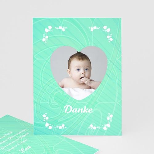 Dankeskarten Geburt Mädchen - Herzchenrahmen 9662
