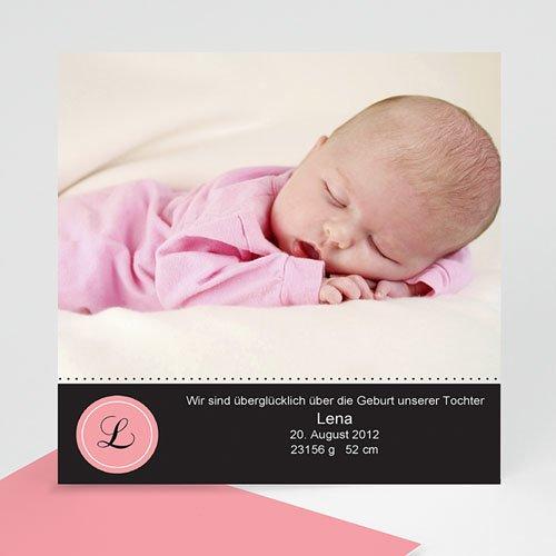 Geburtskarten für Mädchen - Initialien Rosa 976