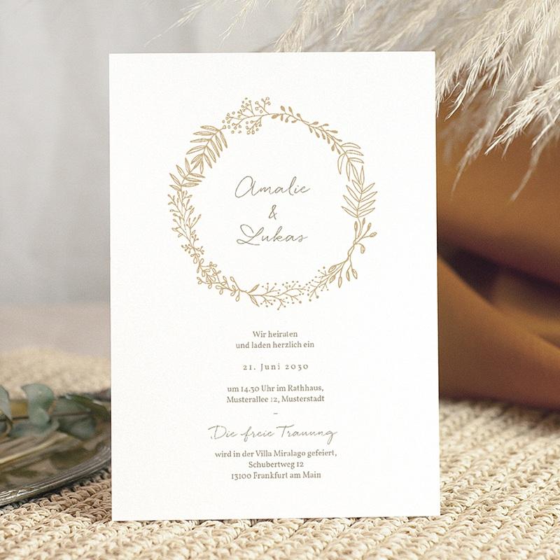 Hochzeitseinladungen Goldkranz, 15 x 21 cm