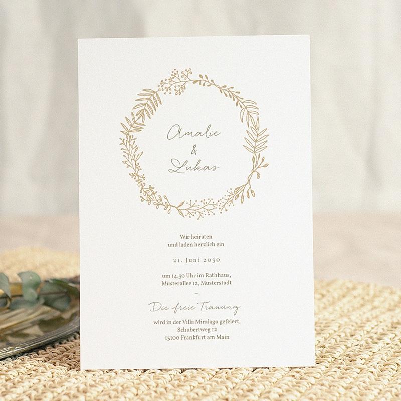 Hochzeitseinladungen Goldkranz, 15 x 21 cm gratuit