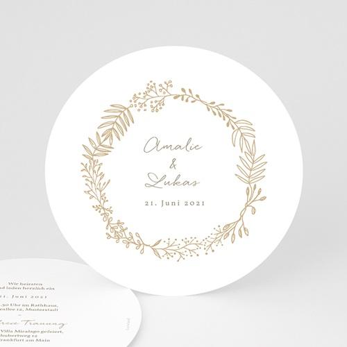 Hochzeitseinladungen Goldkranz Ø 14 cm