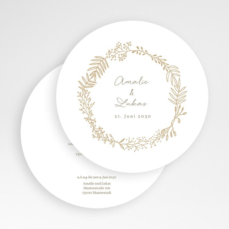 Hochzeitseinladungen Goldkranz Ø 14 cm gratuit