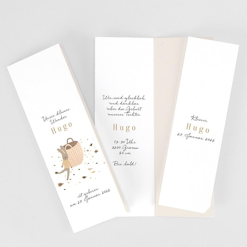 Geburtskarten Kuscheltier Hase, 2in1 mit Lesezeichen