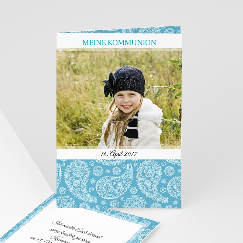 Einladungskarten Kommunion Mädchen  Ornament Blau